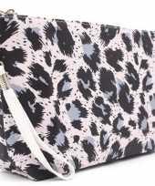 Toilettas make up tas luipaard panter roze 28 cm voor dames