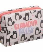 Toilettas make up tas poes kat roze 19 cm voor dames