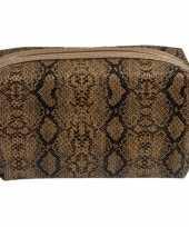 Toilettas make up tas slangen print bruin 18 cm voor dames