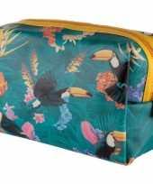 Toilettas make up tas toekan tropisch 19 cm voor dames