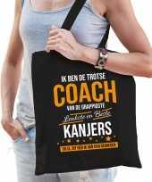 Trotse coach van de beste kanjers katoenen cadeau tas zwart voor dames