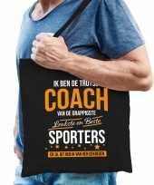 Trotse coach van de beste sporters katoenen cadeau tas zwart voor heren