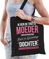 Trotse moeder dochter cadeau tas zwart voor dames