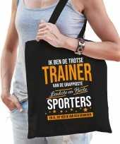 Trotse trainer van de beste sporters katoenen cadeau tas zwart voor dames