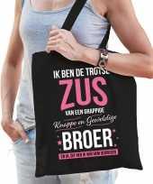 Trotse zus broer cadeau tas zwart voor dames