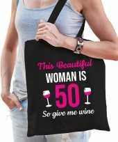 Verjaardag cadeau tas 50 jaar this beautiful woman is 50 give wine zwart voor dames