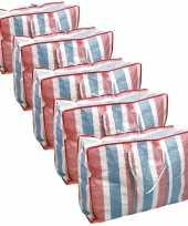 Voordeelset 10x deken kussen opbergtas raffia gestreept 80 x 31 x 60 cm