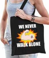 We never walk alone katoenen tas crisis zwart voor dames