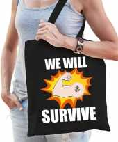 We will survive katoenen tas crisis zwart voor dames