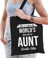 Worlds greatest aunt tante cadeau tas zwart voor dames