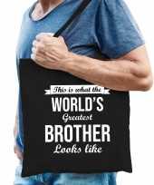 Worlds greatest brother broer cadeau tas zwart voor heren