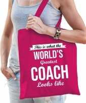 Worlds greatest coach cadeau tas roze voor dames