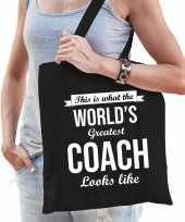 Worlds greatest coach cadeau tas zwart voor dames