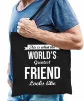 Worlds greatest friend vrienden cadeau tas zwart voor heren
