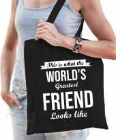 Worlds greatest friend vriendinnen cadeau tas zwart voor dames