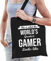 Worlds greatest gamer cadeau tas zwart voor dames