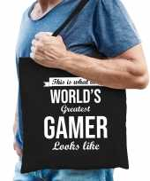 Worlds greatest gamer cadeau tas zwart voor heren