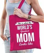 Worlds greatest mom moeder cadeau tas roze voor dames
