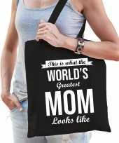 Worlds greatest mom moeder cadeau tas zwart voor dames