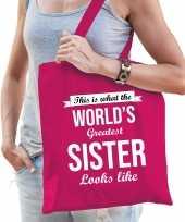 Worlds greatest sister zus cadeau tas roze voor dames