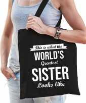 Worlds greatest sister zus cadeau tas zwart voor dames