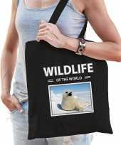 Zeehond tasje zwart volwassenen en kinderen wildlife of the world kado boodschappen tas