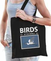 Zilverreiger tasje zwart volwassenen en kinderen birds of the world kado boodschappen tas
