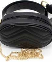 Zwart gestikt heuptasje schoudertasje 19 cm voor meisjes dames