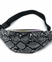 Zwart grijs slangenprint heuptasje buideltasje 32 cm