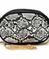 Zwart wit slangenprint heuptasje schoudertasje 19 cm